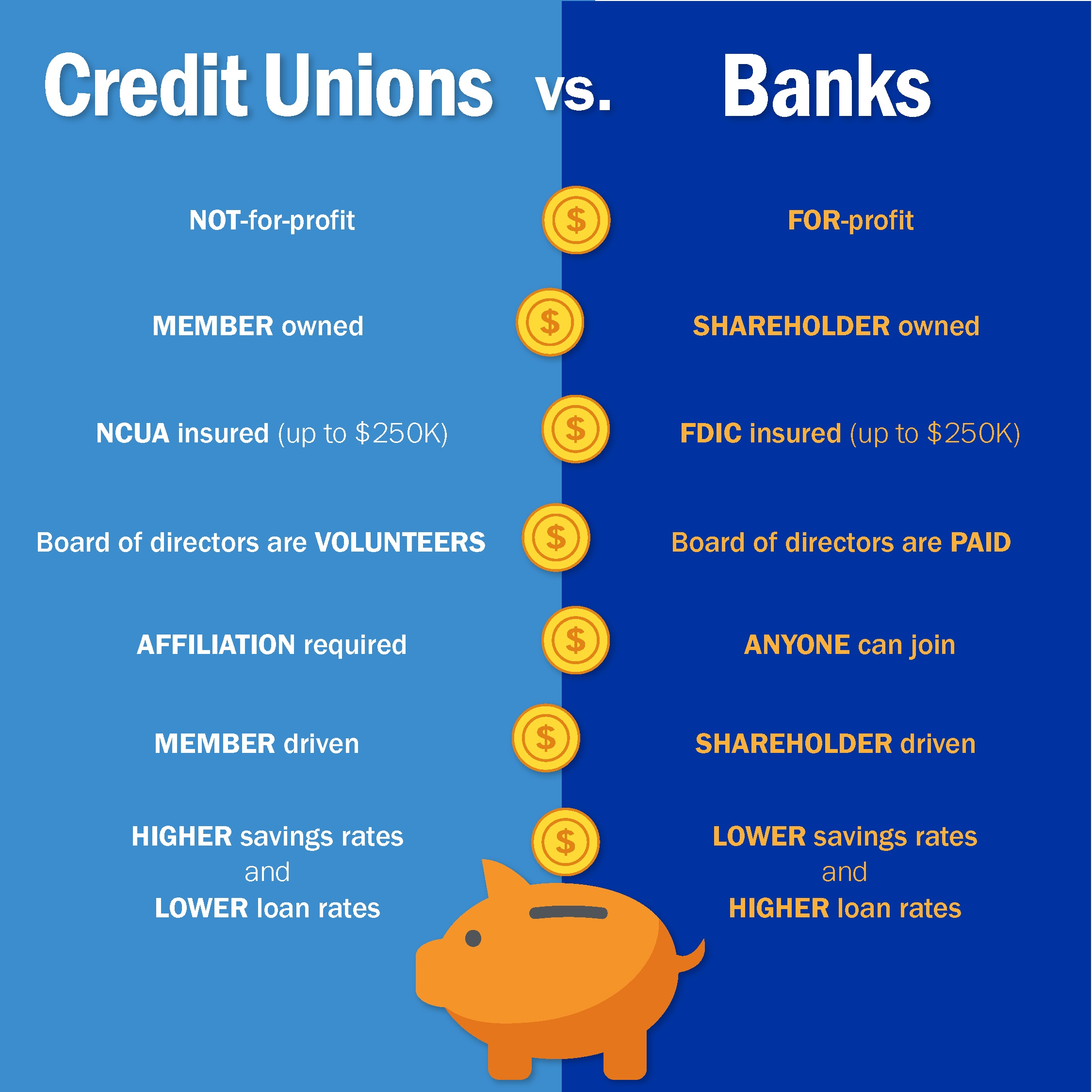 creditunion vs bank infographic